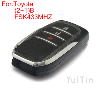 TOYOTA HILUX (2+1)buttons FSK 433MHZ keyless-go remote 8A chip