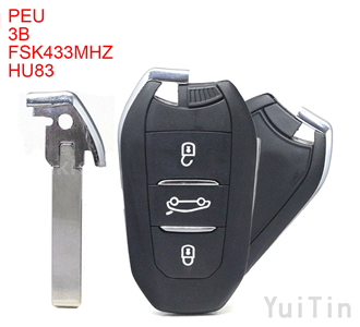 PEUGEOT DS smart remote key 3 buttons FSK433MHz 7945chip