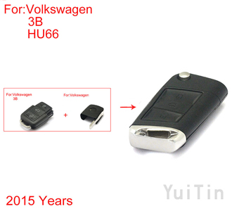 VOLKSWAGEN old style model separate part upgrade folding remote shell 3 buttons HU66 2015year