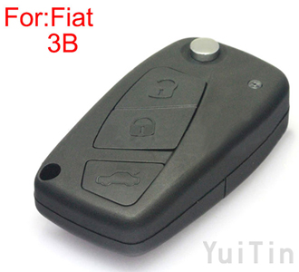 FIAT remote folding key shell 3 buttons SIP22 blade (black color )