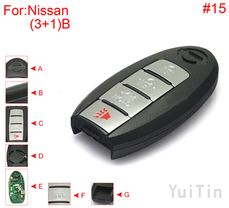 [NISSAN] [SMA] remote shell 3+1 buttons (with HOLD trunk button , battery buckle towards right , without block place ,with logo , back side without word) #15