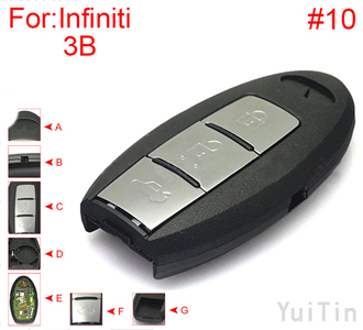 [INFINITI] [SMA] remote shell 3 buttons (battery buckle towards left , with block place ,back side without word) #10