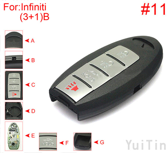 [INFINITI]  [SMA] remote shell 3+1 buttons (with HOLD trunk button, battery buckle towards left , with block place ,back side without word) #11