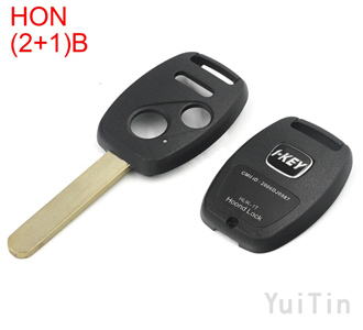 HONDA remote key shell 2 +1buttons with sticker(with chip positions and without chip positions 2in1)easy to cut copper-nickel alloy HON66
