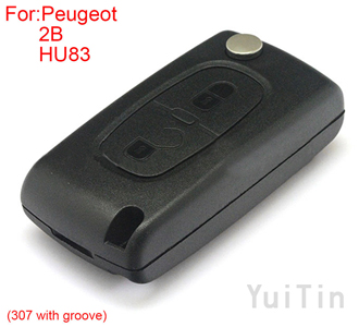 [PEUGEOT] remote key shell 2 button (307 with groove)