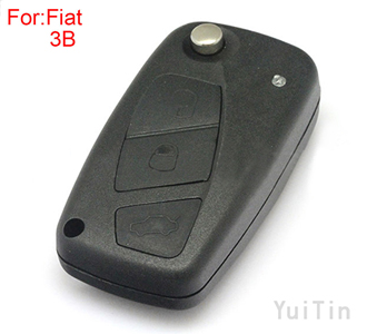 [FIAT] flip remote key shell 3 button black color