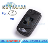 Lexus 2 button remote folding key shell