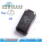 Lexus 3 button remote flip key shell
