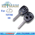 Lexus TOY48 3 button remote key shell for Silver Logo