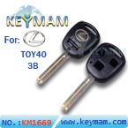 Lexus TOY40 3 button remote key shell