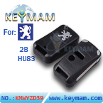 Peugeot307 2 button folding remote key shell