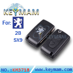 Peugeot 2 button modified flip remote key shell SX9