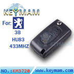 Peugeot 3 button flip remote key 433mhz
