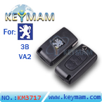 Peugeot 3 button flip remote key shell VA2