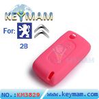 Peugeot ,Citroen 2 buttons remote silicon rubber case pink color