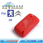 Peugeot ,Citroen 2 buttons remote silicon rubber case red color