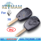 Renault 3 button remote key shell (without logo)