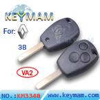 Renault 3 button remote key shell