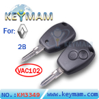 Renault 2 button remote key shell (without  logo)