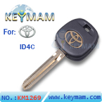 Toyota ID4C transponder key for glod logo