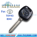 Toyota TOY43 ID4C transponder key