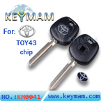 Toyota TOY43 transponder key shell,chip less key