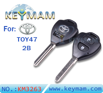 Toyota Auris TOY47 2 button remote key shell
