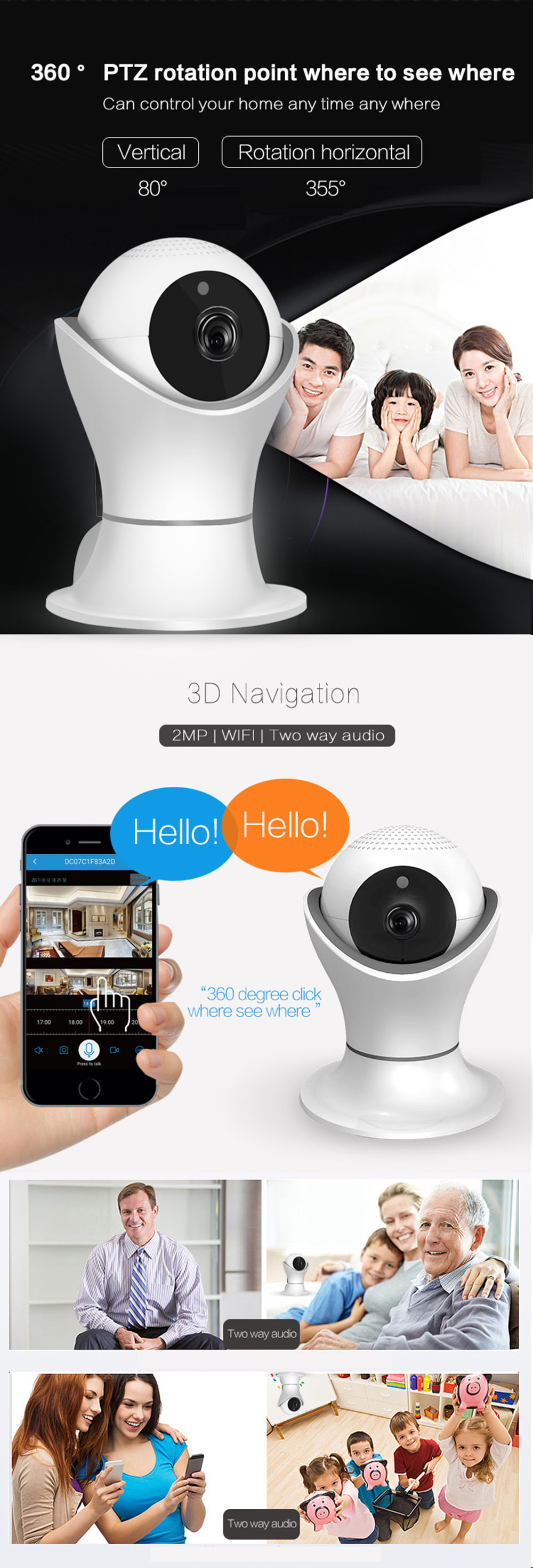 HD 1080P Home Security IP Camera Wireless WiFi Camera Surveillance Night Vision CCTV Indoor Baby Monitor,Motion Detection.