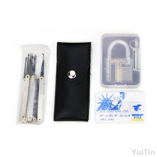 Transparent practice 7 pin lock padlock + 12pcs/set Lock picks Tools  locksmith + 5pcs credit card lock pick set